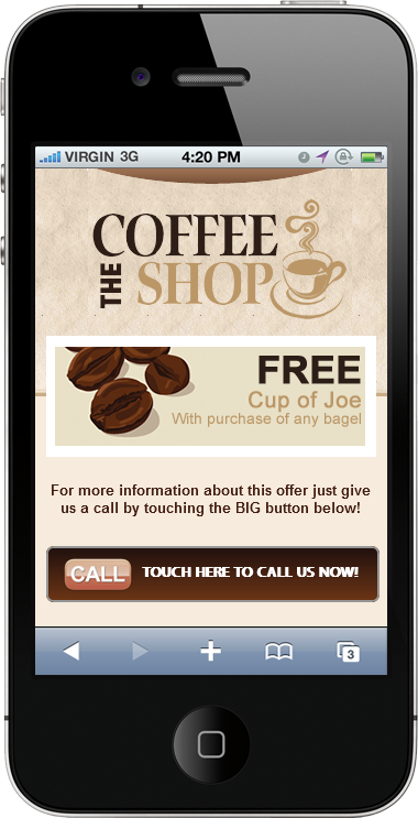 coffeeshop mobile site