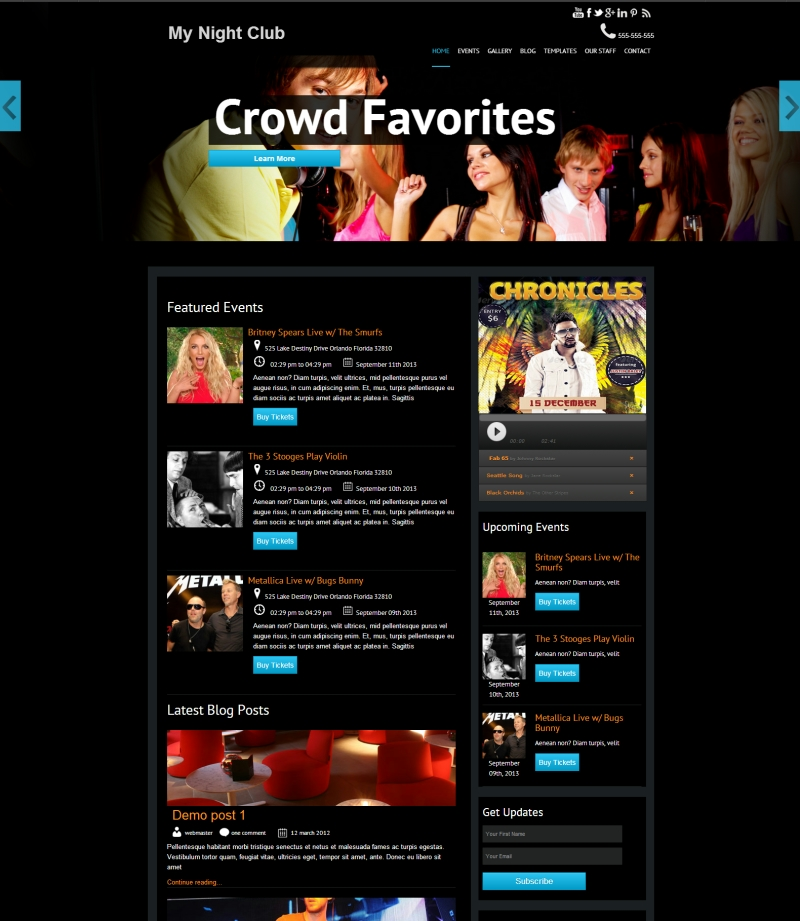 night club or bar website